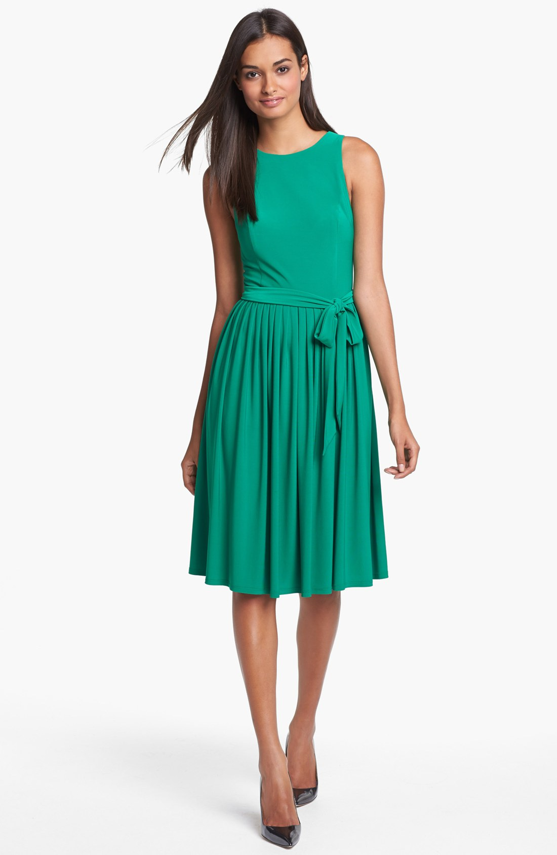 Isaac Mizrahi New York Jersey Fit Flare Dress In Green