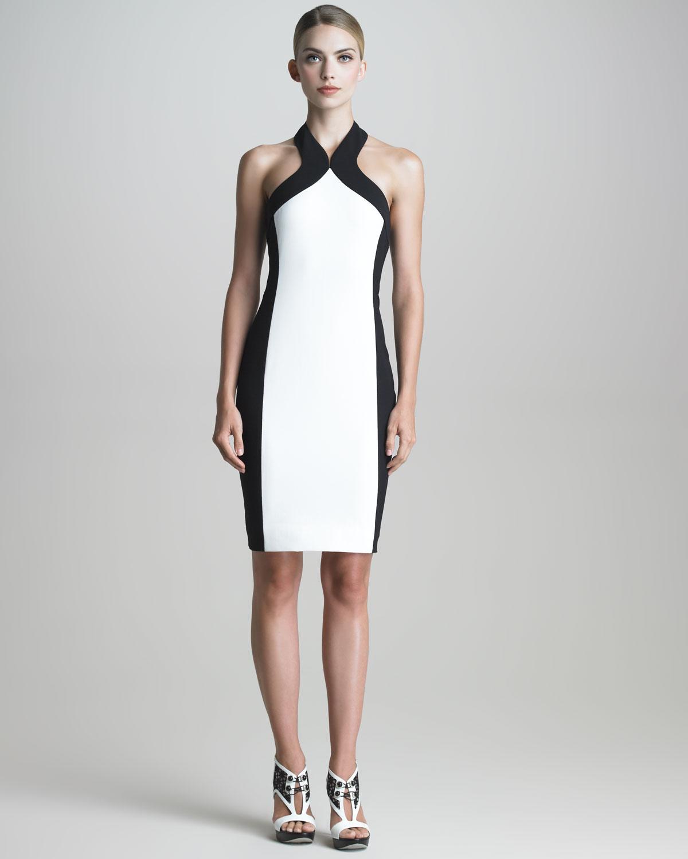 Lyst - Jason Wu Colorblock Halter Sheath Dress in White 9775e9738