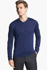 Jil Sander Wool Silk V Neck Sweater - Lyst