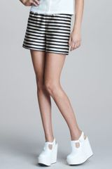 Jil Sander Navy Striped Silk Shorts - Lyst