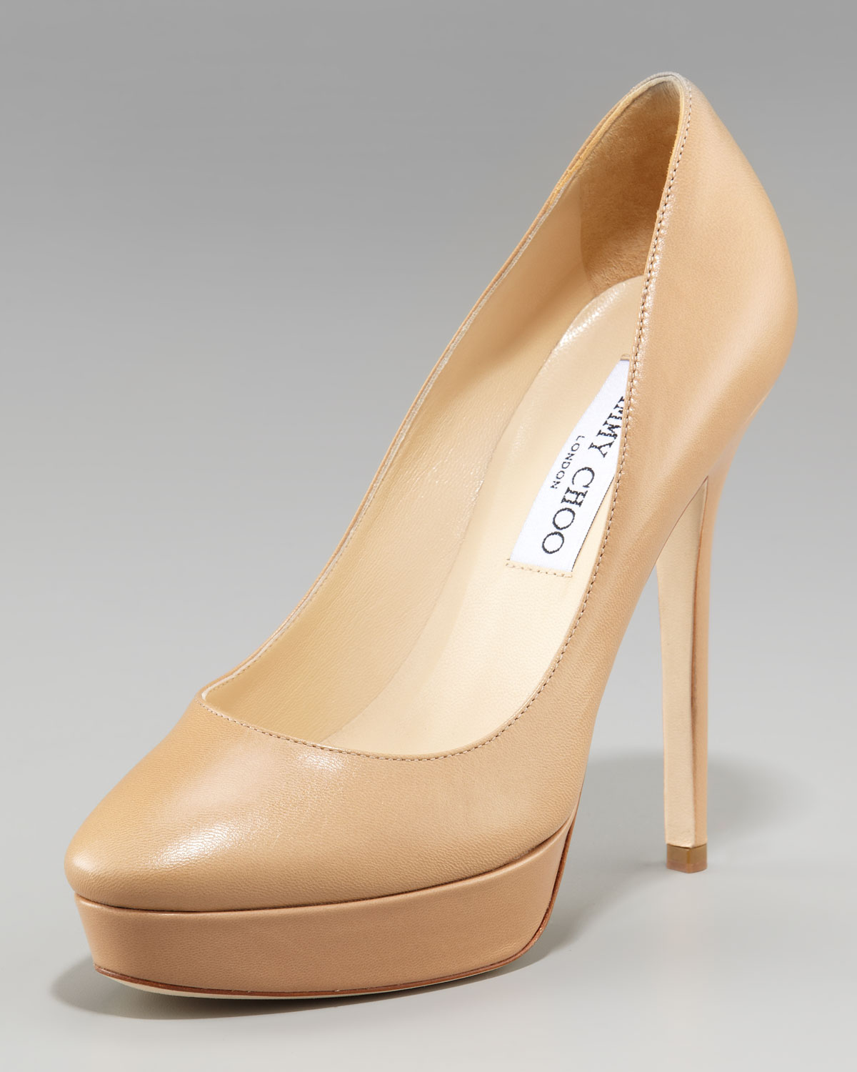 438ac8df976e ... new style lyst jimmy choo cosmic leather platform pump in natural fce12  e818b