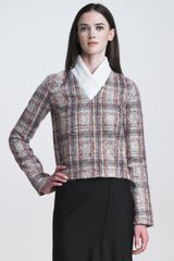 J.W. Anderson Puffercollar Plaid Top - Lyst