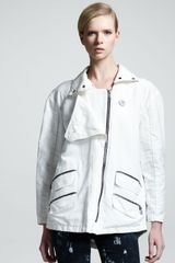Kelly Wearstler Zip Trim Cotton Linen Jacket - Lyst