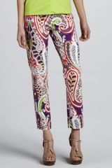 Lafayette 148 New York Paisley-print Cropped Pants - Lyst