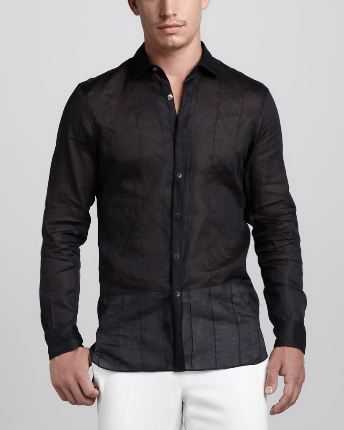 Lyst Lanvin Sheer Stitched Shirt In Black For Men