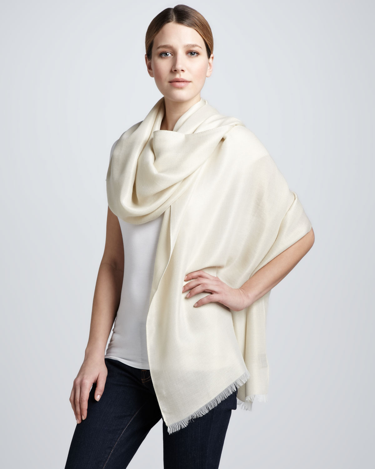 Lyst Loro Piana Dream Shimmer Stole Ivy Gold In Natural