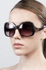 Marc Jacobs Crystaltemple Oversized Square Sunglasses Pearl Brown - Lyst