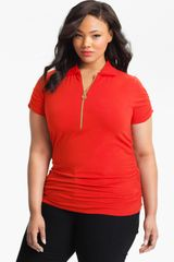 Michael by Michael Kors Ruched Short Sleeve Polo - Lyst
