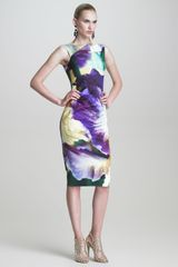 Oscar de la Renta Iris print Sheath Dress - Lyst