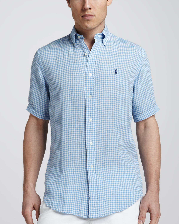 Polo ralph lauren gingham shortsleeve linen shirt light for Mens light blue linen shirt