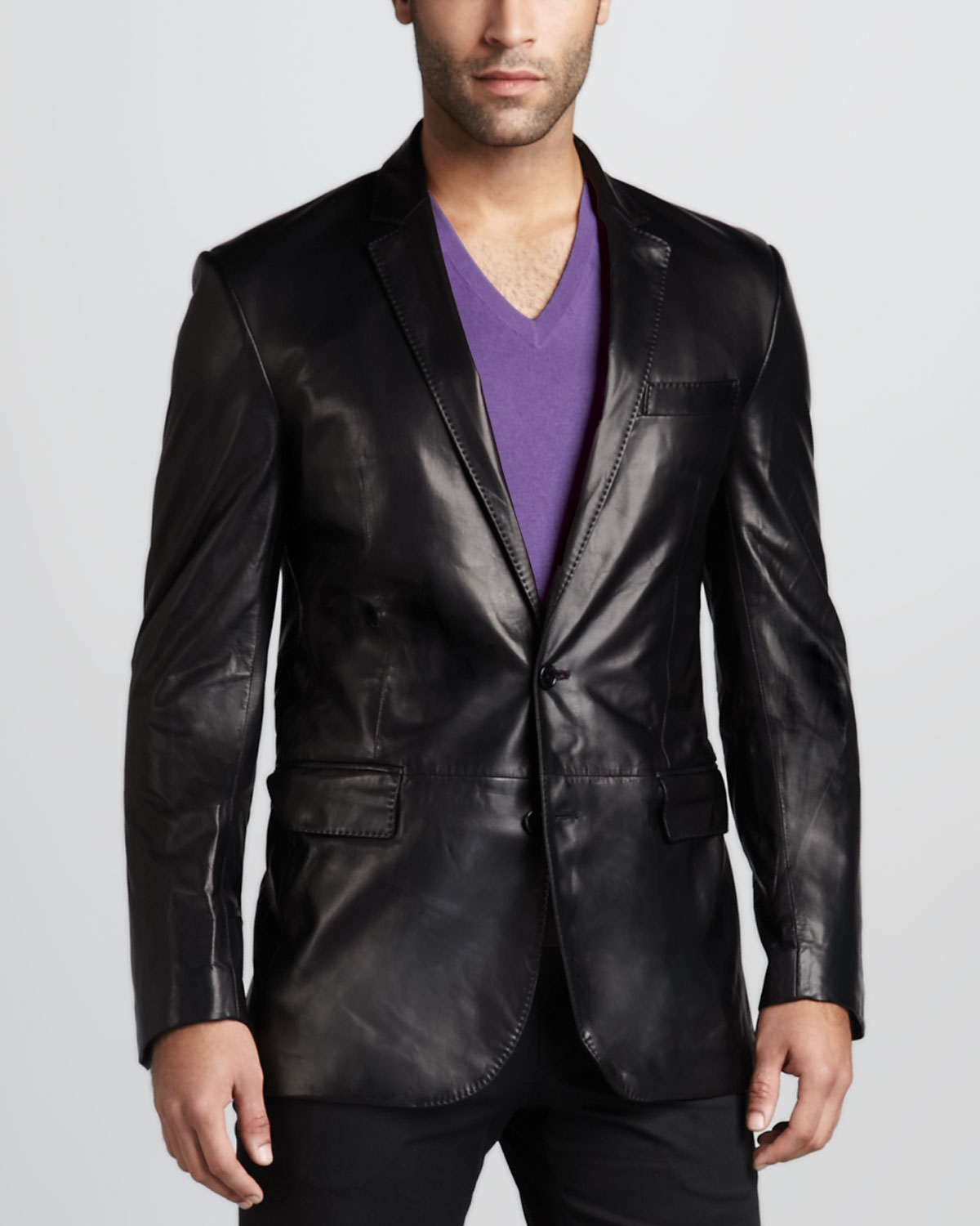 Ralph lauren black label Anthony Leather Sport Coat in Black for ...