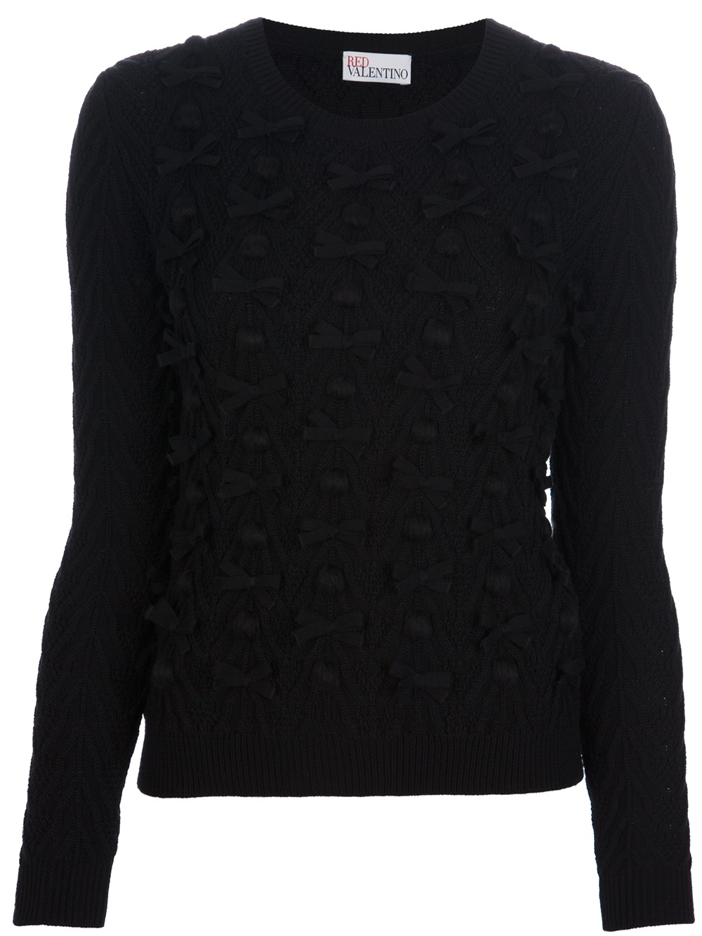 Red valentino Bobble Knit Bow Sweater in Black | Lyst