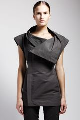 Rick Owens Sleeveless Asymmetric Jacket - Lyst