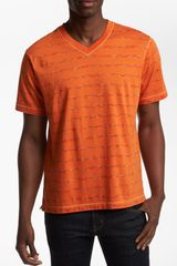 Robert Graham Cusp Stripe V-neck T-shirt - Lyst