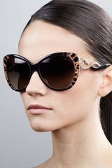 Roberto Cavalli Serpenttemple Oversized Cateye Sunglasses Leopard - Lyst