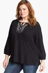 Sejour Embroidered Detail Cotton Tunic - Lyst