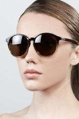 The Row Oversized Round Sunglasses Brownyellow - Lyst