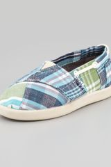 Toms Bimini Blue Madras Boat Shoe Tiny - Lyst