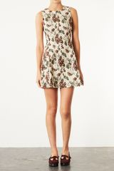 Topshop Floral Jacquard Dress - Lyst