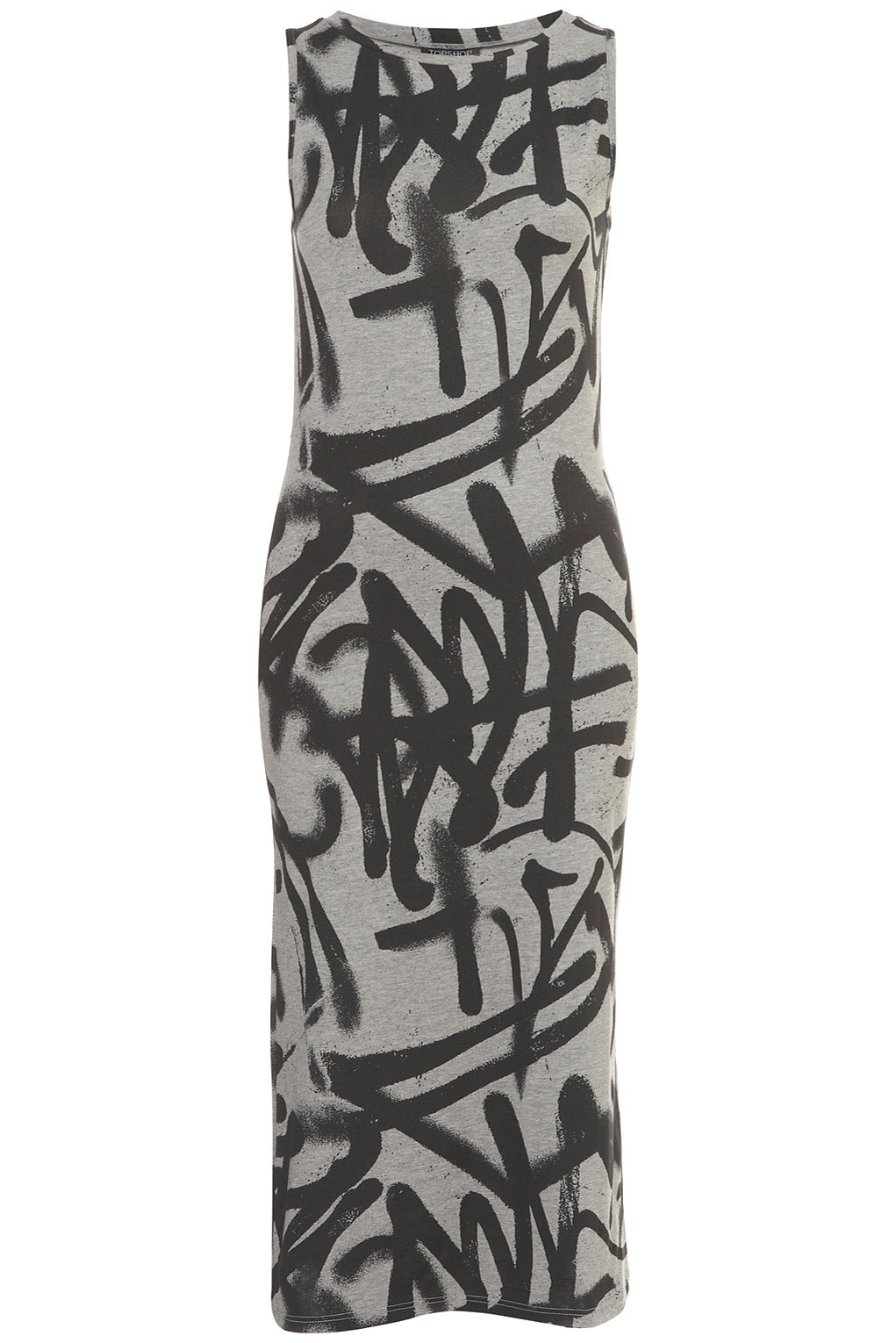 Topshop Graffiti Tank Midi Dress In Gray Lyst