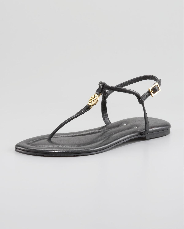 180d714f6ec1 Lyst - Tory Burch Emmy Logo Thong Sandals in Black