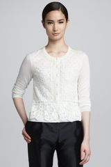 Valentino Beaded Lace-overlay Knit Cardigan White - Lyst
