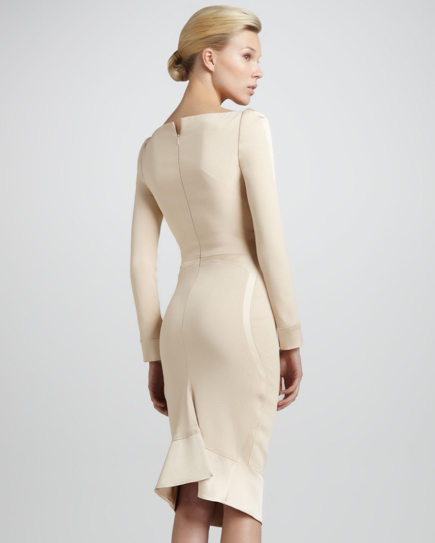 Lyst Zac Posen Satin Panel Long Sleeve V Neck Dress In