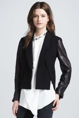 3.1 Phillip Lim Womens Crossfront Leathersleeve Jacket Black - Lyst