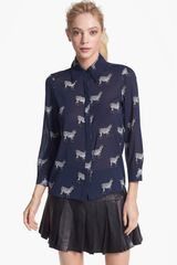 Alice + Olivia Will Print Stretch Silk Blouse - Lyst