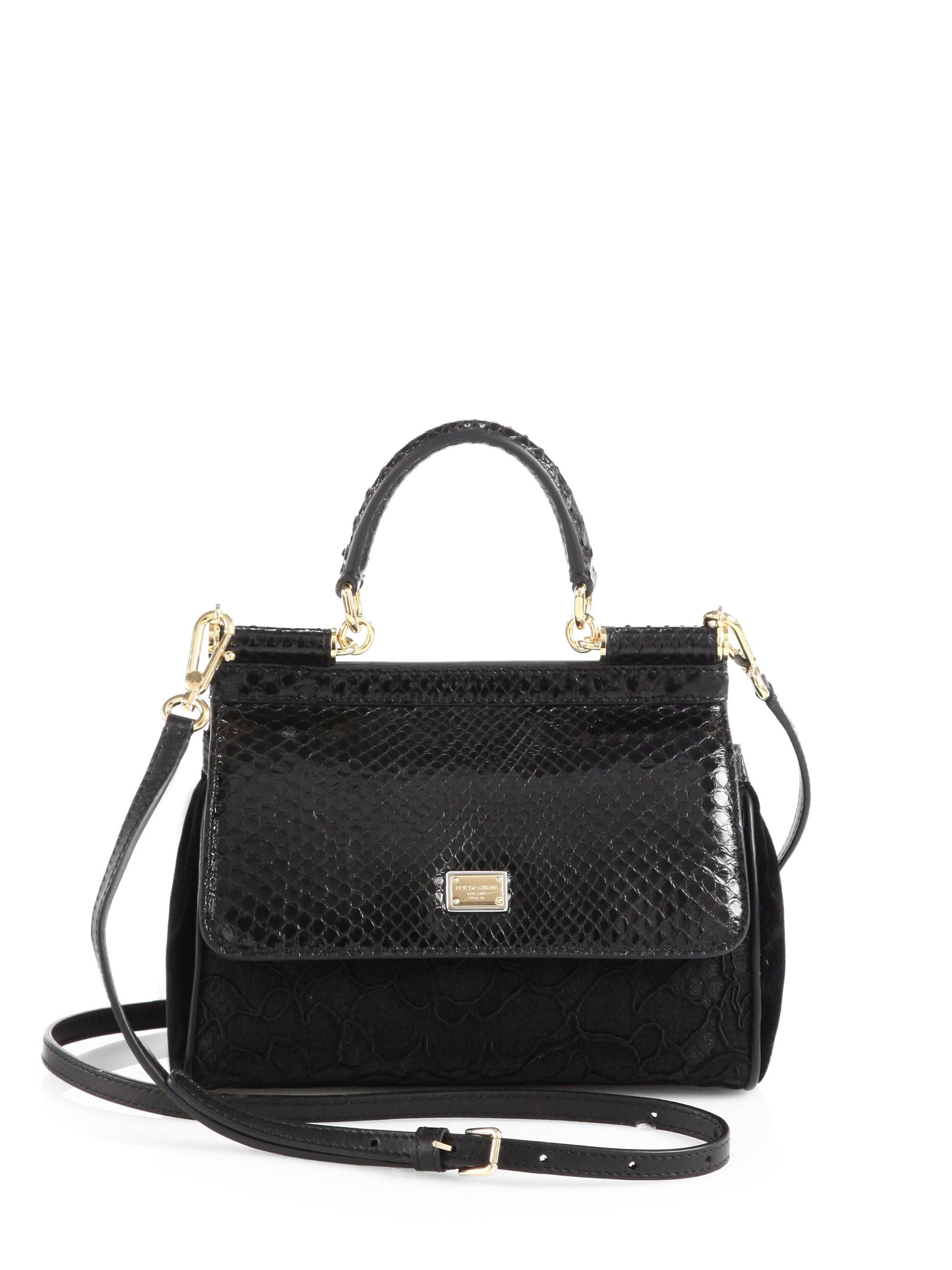 Lyst - Dolce   Gabbana Sicily Mixedmedia Mini Top Handle Bag in Black 7fa2a0bc21a49