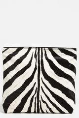 Emilio Pucci Zebra Print Calf Hair Leather Clutch - Lyst
