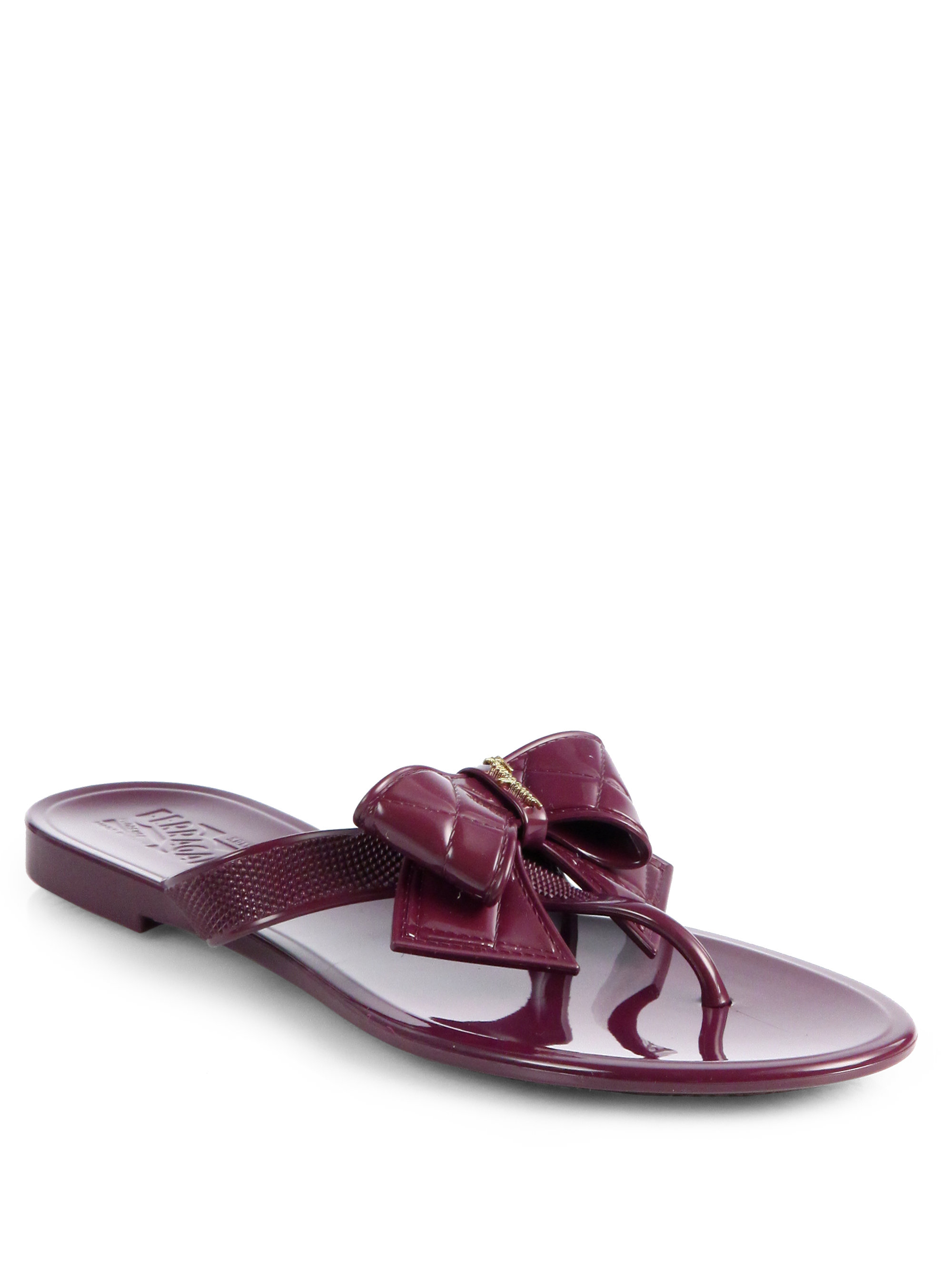 Lyst Ferragamo Bali Jelly Bow Thong Sandals In Purple