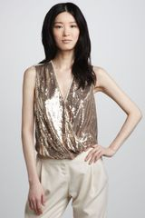 Halston Heritage Sequined Wrapfront Top - Lyst