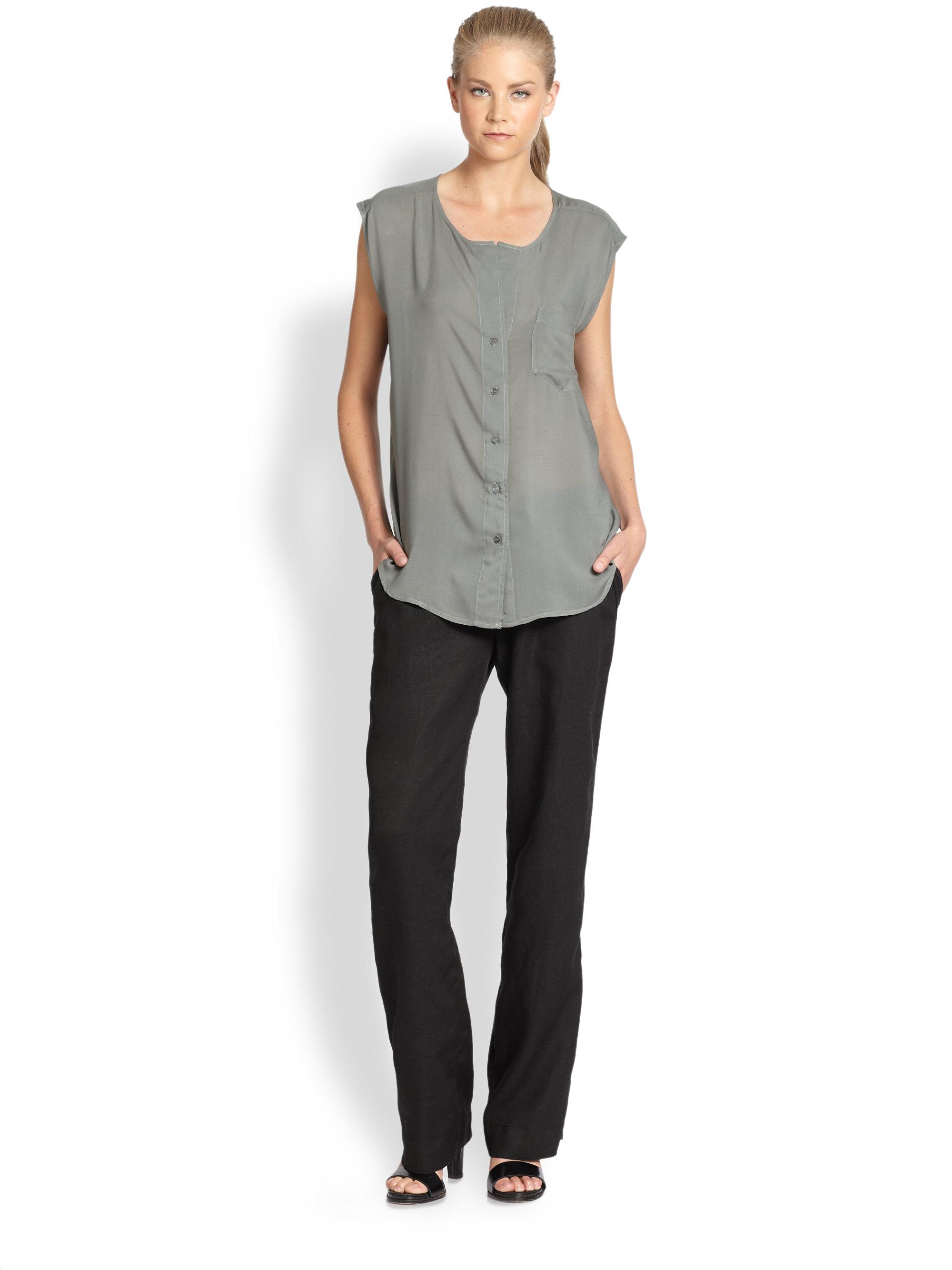 wide leg black linen pants - Pi Pants