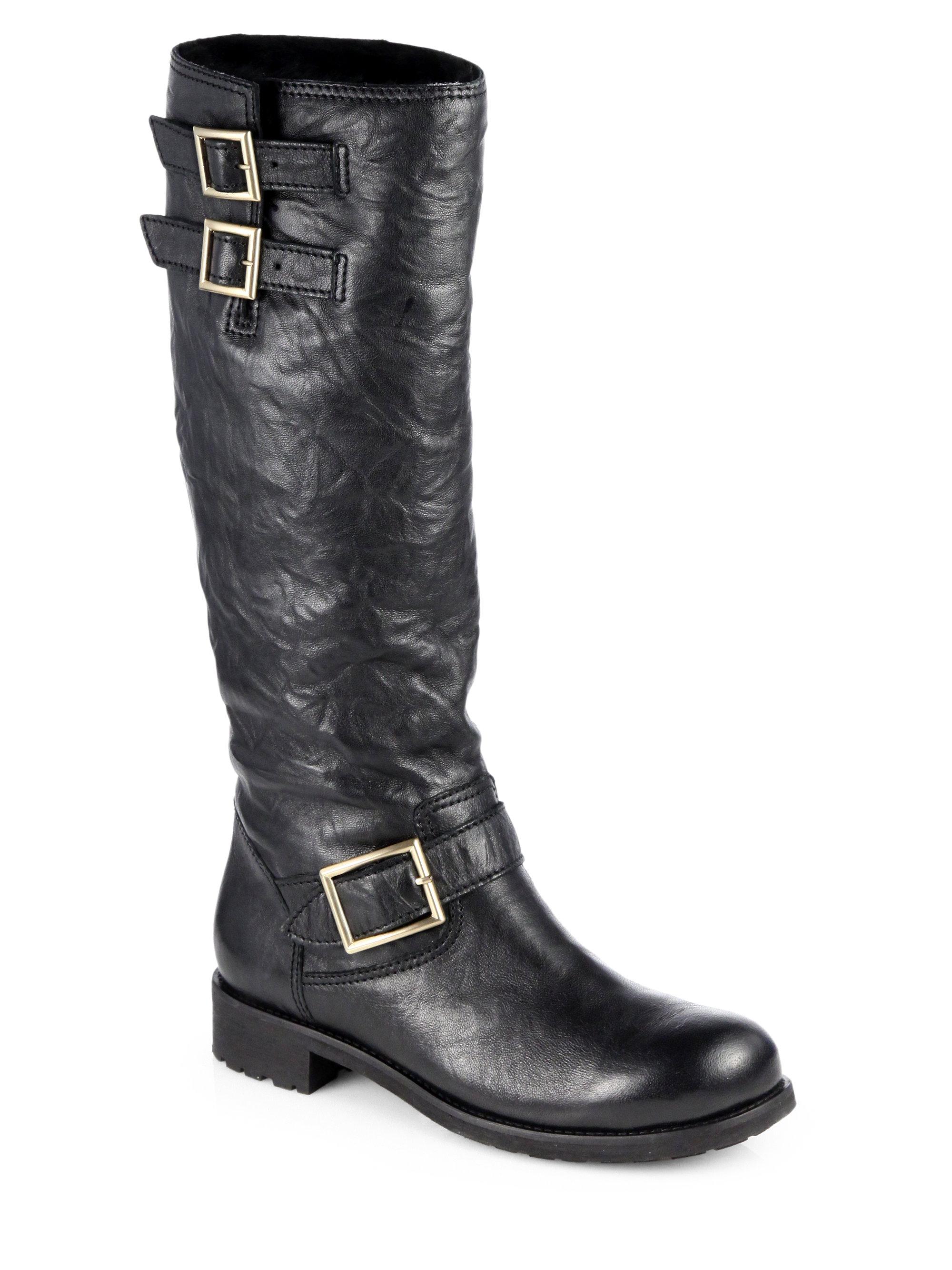 4e18b119f781 Lyst - Jimmy Choo Yule Leather Furlined Motorcycle Boots in Black