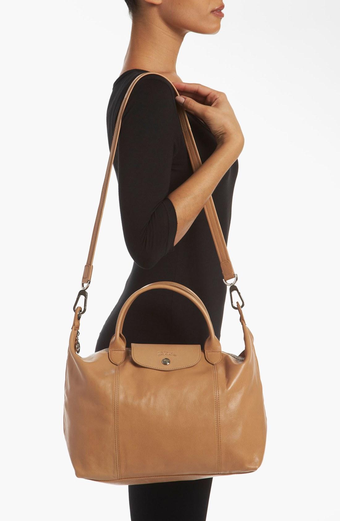 longchamp le pliage cuir leather handbag in orange lyst. Black Bedroom Furniture Sets. Home Design Ideas