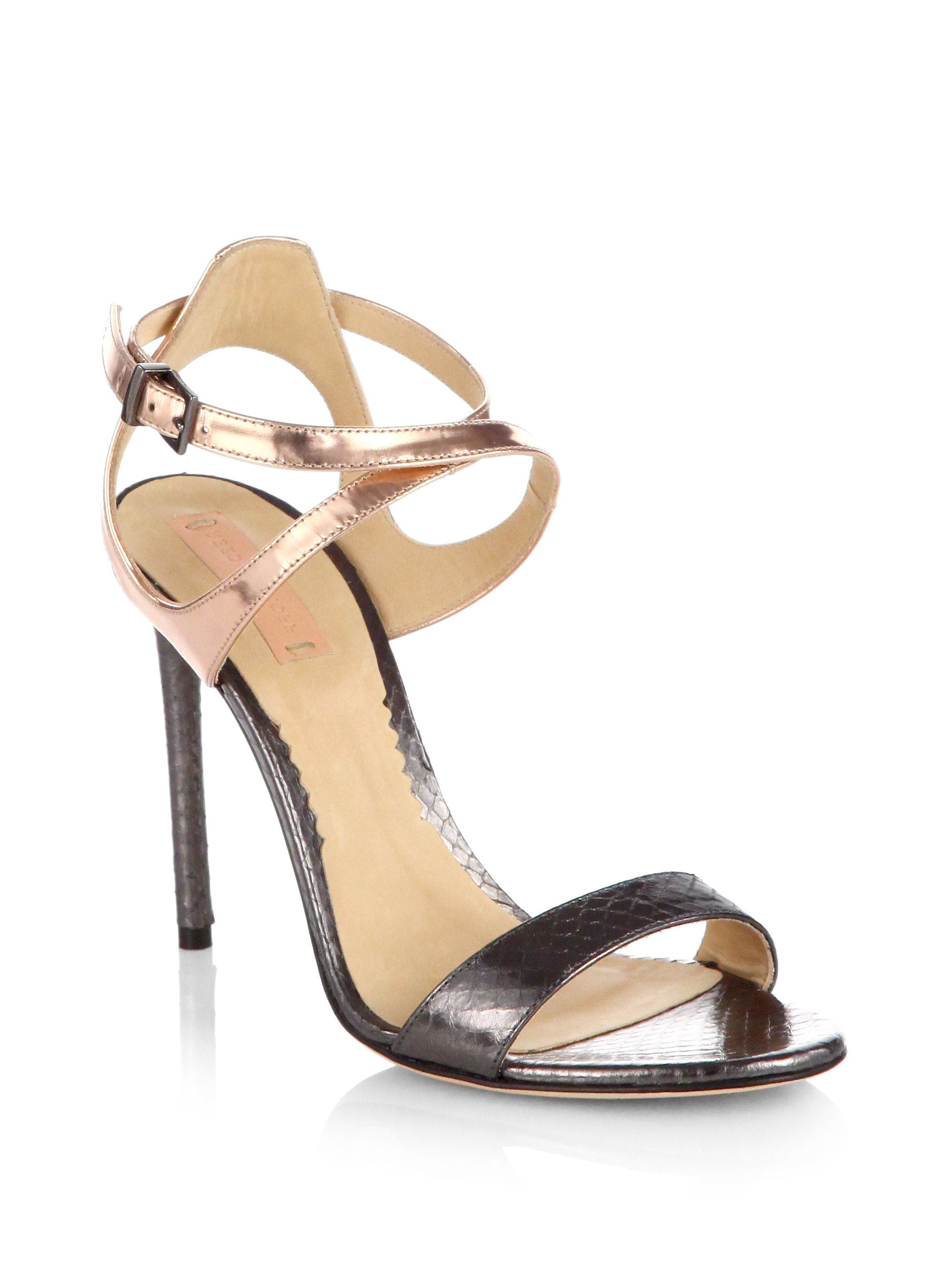 Reed Krakoff Embossed Leather PVC-Trimmed Sandals w/ Tags footlocker finishline online in China view sale online for sale wholesale price ENgl6p1SC0
