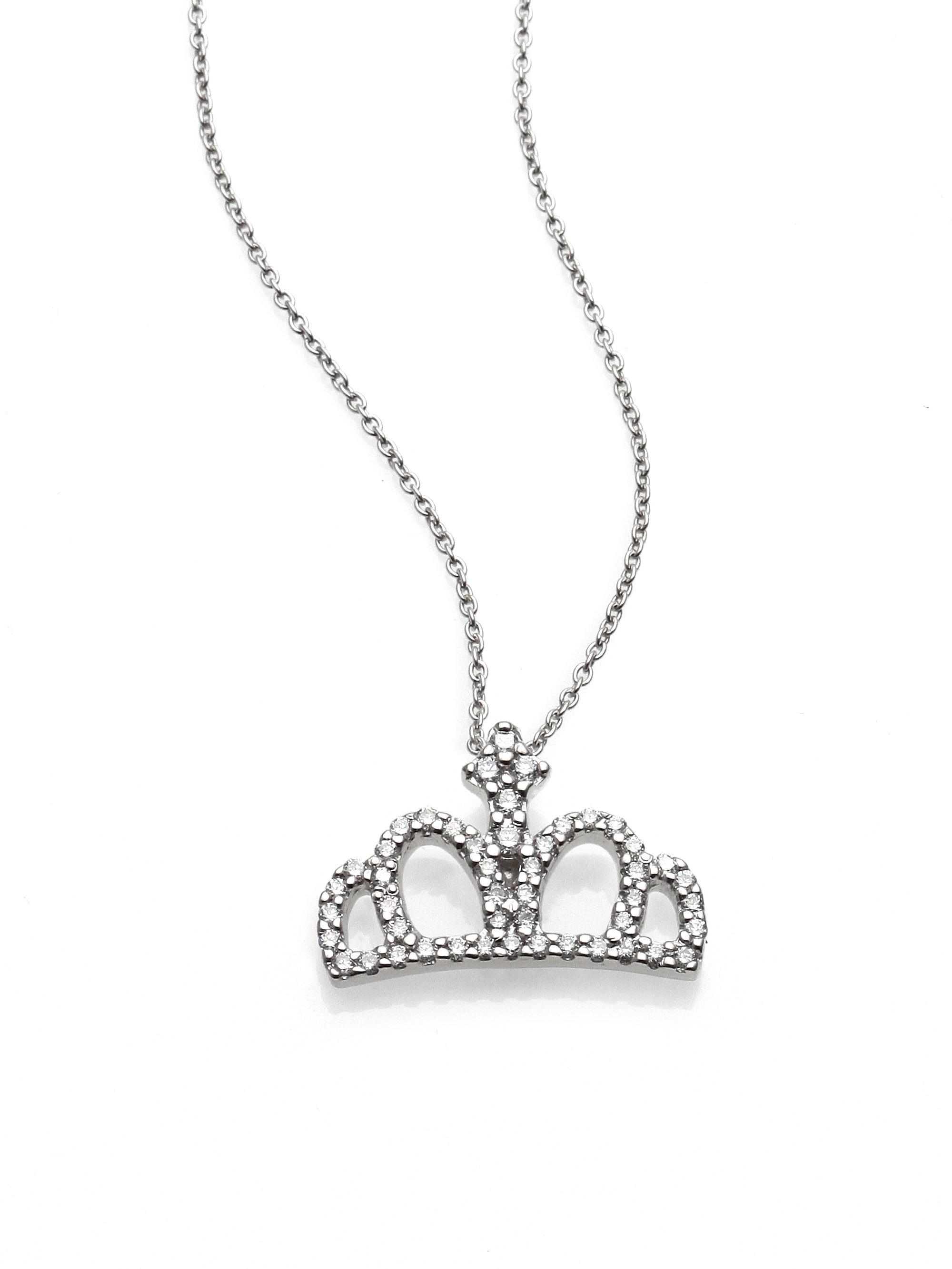 lyst roberto coin tiny treasures diamond 18k white. Black Bedroom Furniture Sets. Home Design Ideas