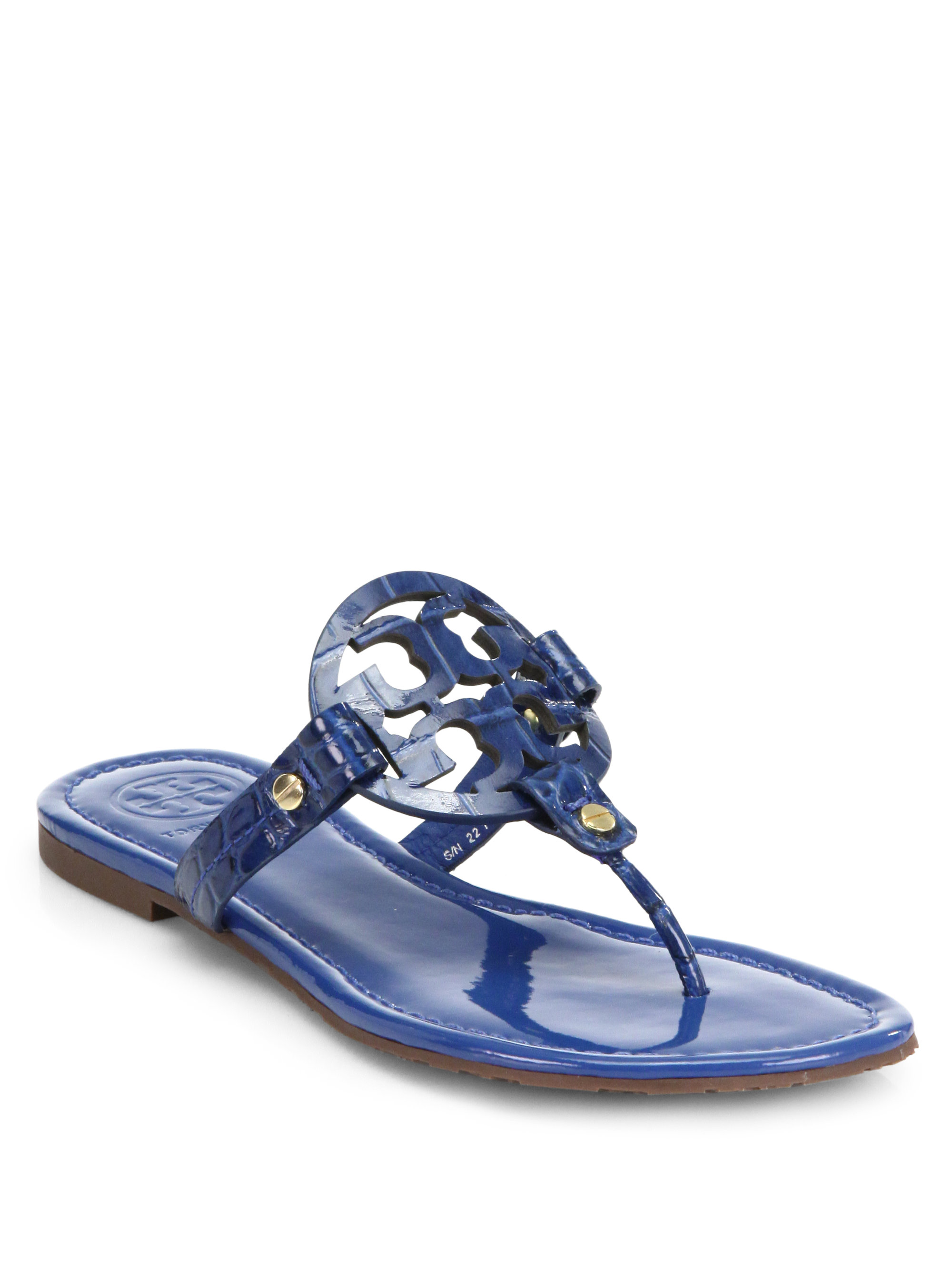 0e6d232a401b37 Lyst - Tory Burch Miller Crocodileembossed Patent Leather Sandals in ...
