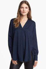 Vince Trapunto Stretch Silk Top - Lyst