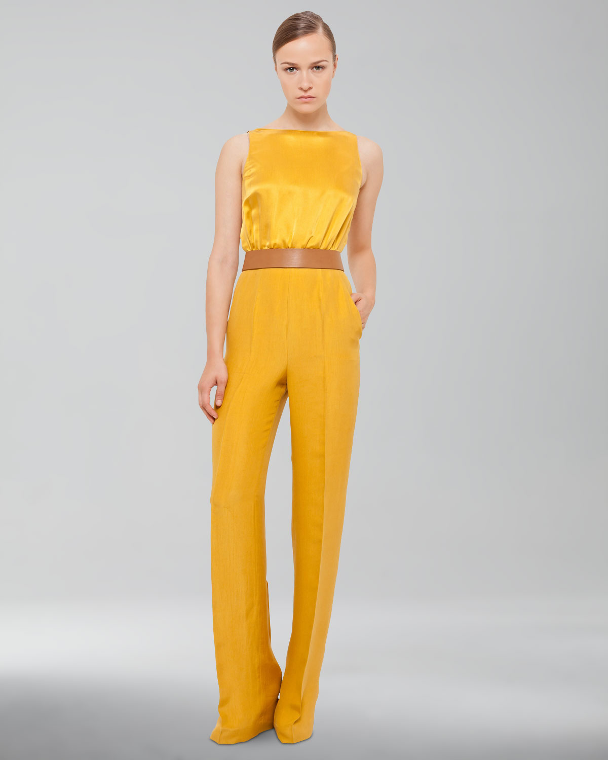 Akris Womens Silk Crepe Jumpsuit Pollen in Yellow | Lyst