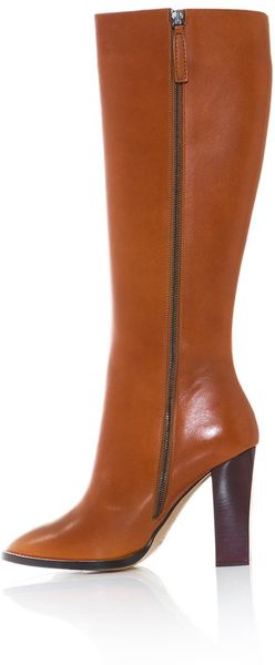 chlo 233 leather knee length boots in brown lyst