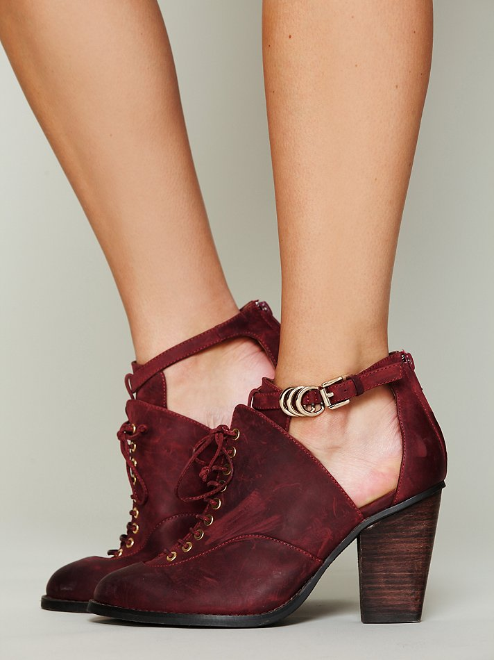Burgundy Ankle Strap Shoes Clarks