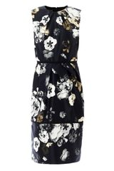 Giambattista Valli Pansy-print Satin Dress - Lyst