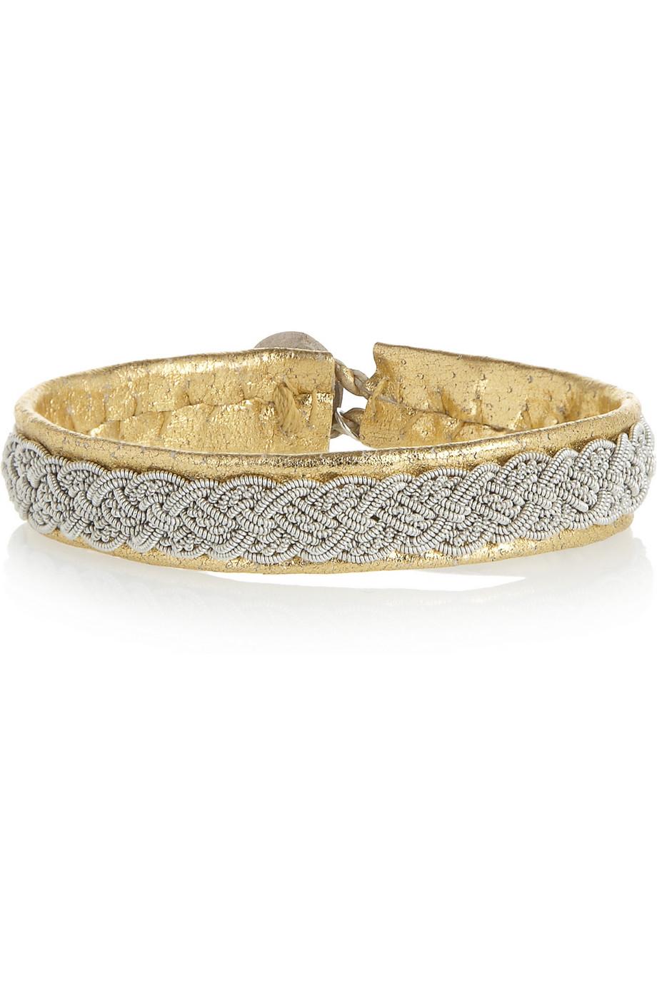 Maria Rudman Embroidered Leather Bracelet In Metallic Lyst