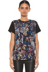 Proenza Schouler Printed Short Sleeve Tee in Blueblackabstractgeometric Print - Lyst