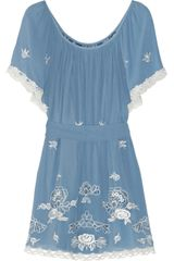 Temperley London Florelle Embroidered Silkchiffon Mini Dress - Lyst