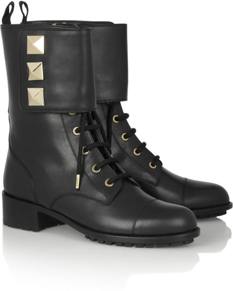 valentino studded leather army boots in black lyst