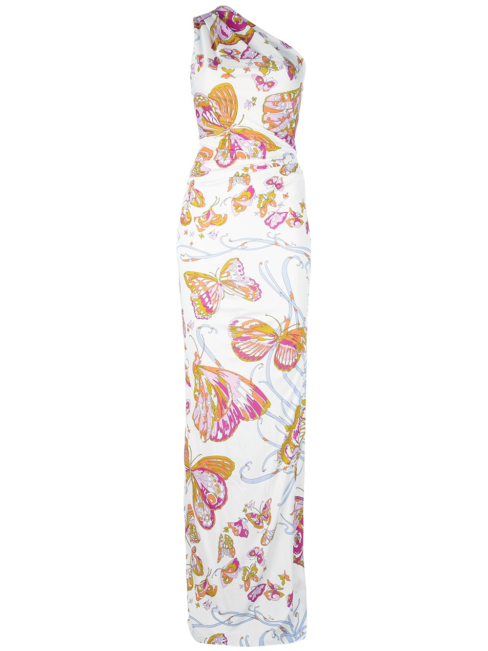 Lyst Emilio Pucci One Shoulder Butterfly Maxi Dress In White