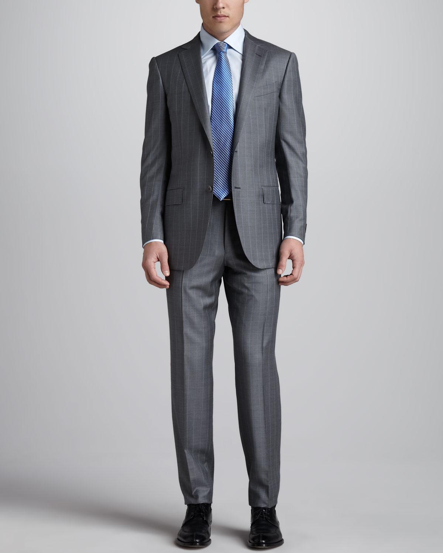 e41ce2834587 Ermenegildo Zegna Pinstripe Suit Grayblue in Gray for Men - Lyst